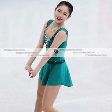 Girl Marvellous Ice Skating Figure skating Dress Gymnastics Costume Green Y170