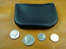 Black Cowhide Leather coinpurse pouch USA hand crafted disabled veteran 5029