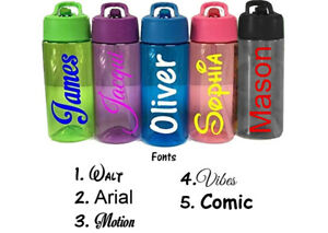 Personalised Custom Kids Water Bottle Flip Straw School Name Colour Army 400ml