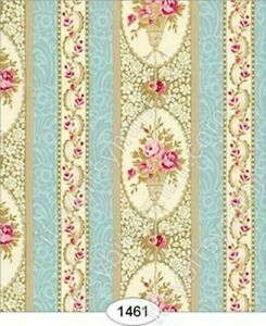 Dollhouse Miniature Wallpaper by Itsy Bitsy- Parisian Floral Stripe 1:24 Scale