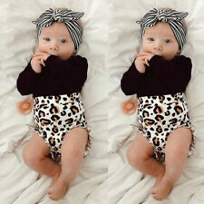 New Infant Kids Baby Girl Infant Clothes Romper Tops Leopard Print Pants Outfits