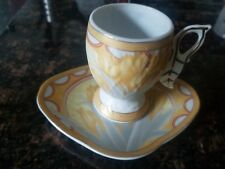 Exquisite Hand-painted Sanabel Art Deco Ceramic Coffee Cup & Saucer - Very Rare