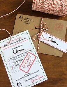 "Personalised Vintage Christmas ""Nice"" List Letter/Certificate 2021 From Santa"