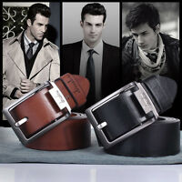 Men Casual Waistband Luxury Leather Automatic Buckle Belt Waist Strap Belt hq