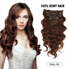 "Body Wavy Clip in Human Hair Extensions Full Head14""16""18""20""22""24"" Medium Brown"