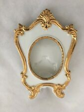 "White Goldtone Ceramic 3.5 X 5.5"" Picture Frame Holds 2X2.5"" Photo"