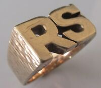"""Vintage 9ct Yellow Gold Heavy (13.2g) Gents """"RS"""" Initial Ring Size P 1/2"""