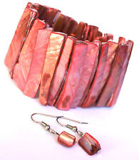 Mother of Pearl MOP Sea Shell Stretch Beach Bracelet and Fish Hook Earrings Set