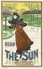 "Original 1897 lithograph ""Read The Sun"" by Louis Rhead from Das Moderne Plakat"