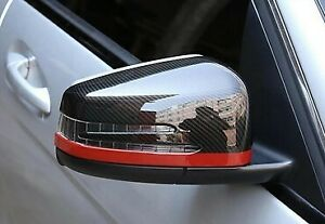 Mercedes Carbon Style Mirror Caps Wing Mirrors A B C E S CLA GLA Class Red Line