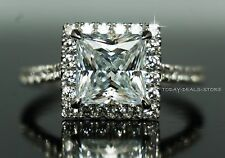 Solitaire Halo pave set  2.00 CT Ring Princess Round cut  Real White Gold 14K