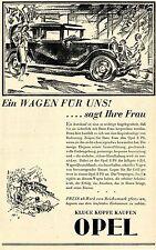 Kluge Köpfe kaufen OPEL 8 PS 6 Zyl. für 3600 RM Historische Reklame von 1929