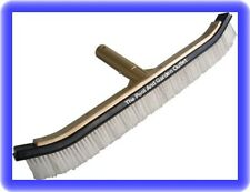 "18"" Curved Nylon & Stainless Steel Mixed Bristle Pool Brush w/Aluminum Handle"