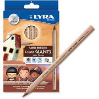 LYRA Skin Tones Jumbo Colouring Pencils Natural Wood Finish - wallet of 12