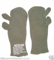 NEW GREEN ARMY MILITARY SURPLUS WOOL BLEND TRIGGER FINGER MITTEN LINERS M Medium