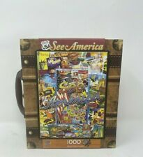 Master Pieces See America 1000 Piece Jigsaw Puzzle with Toy Suitcase Rare