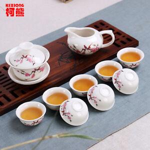 Chinese Tea Set Ceramic 10 Pcs Teapot + Tea Cups + Tea Bowl no Tray High Quality