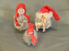 3 pc Cultural folk art hand crafted Sweden Ellersberg fuzzy boy girl baby art