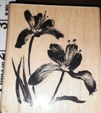 Penny black, languish,flowers,c6,rubber,stamp, wood