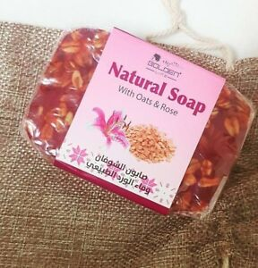 natural soap with oats and rose beauty healthy for all skins kind Arab made