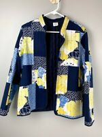 Women's Alfred Dunner Size 12 Quilted Open Face Jacket Blue/Yellow Floral