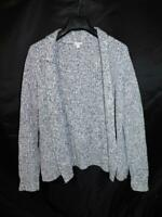 Gap M L Blue Gray Marled Cardigan Sweater Open Front Cotton Knit Womens M/L
