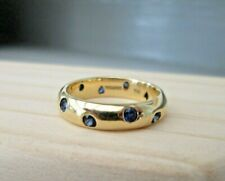 Tiffany & Co 18ct Yellow Gold Etoile Sapphire Eternity Band Wedding Ring Size H