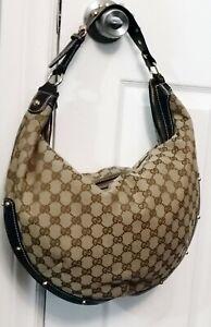 Vintage Gucci  Monogram Large Studded Hobo Brown Hand Bag Purse