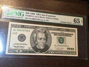 1996 $20 Round Head SF Fr#2084-L PMG 65 Gem EPQ Low Serial Number!