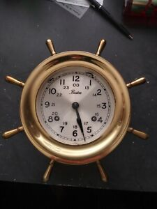 CHELSEA BOSTON SHIPSTRIKE ANTIQUE 4.5 inch Ships Wheel Clock 1982 Authenticated