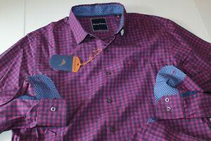 Tommy Bahama Shirt Newport Gingham Plum Purple T324917 LS New Medium M