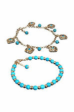Boho Rhinestone Flower Beads Turquoise Foot Chain Anklet LW