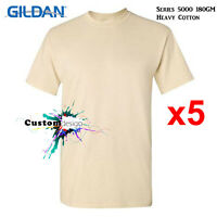 5 Packs Gildan Sand T-SHIRT Basic Tee S - 5XL Men Heavy Cotton