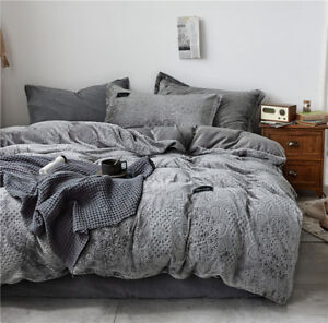 4pcs. Bedding Set Carved Velvet Embroidery Duvet Set & Flat Sheets Winter Warm