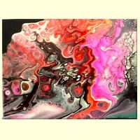 9 x 12 ACRYLIC PAINTING HOT PINK BLACK GREY FLUID ART POUR ABSTRACT CANVAS