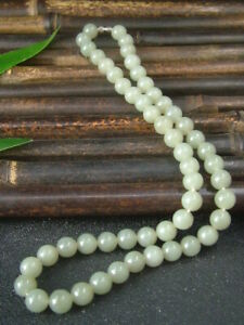 Antique Chinese Nephrite Celadon Hetian OLD  Jade 8mm Beads Necklace Pendants