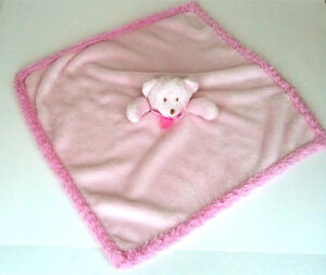 Blankets and Beyond Pink Bear Lovey Security Nunu Fur Edge Brown Tag Baby Girl