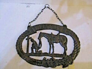 Praying Cowboy Welcome Plaque Cast Iron Rustic Western Banner Cross Horse EUC!