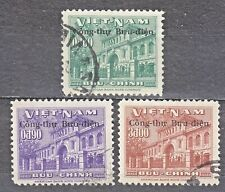 """South VIETNAM  1956 used SC#51/53 set,  Ovpt """"Governmment Post Office Building""""."""