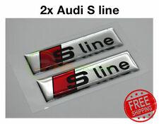 2pcs 3D S line Car Emblems Badge Blade Side Fender Sticker Audi Sports