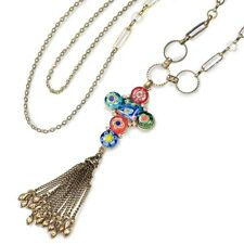 & Tassel Necklace~Made In Usa~ New Sweet Romance Millefiori Glass Cross
