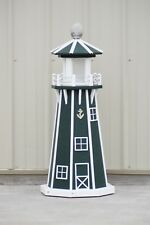 "39"" Octagon Electric and Solar Powered Poly Lumber Lighthouse (Green/white trim)"