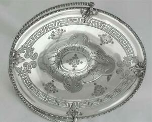 VICTORIAN ROGERS SMITH GREEK REVIVAL SILVER PLATE CENTERPIECE BASKET CAKE STAND