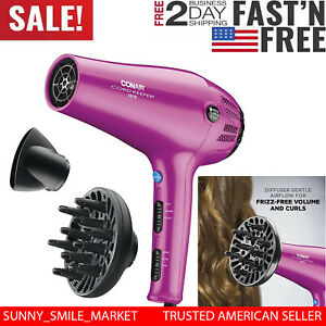 Ionic Hair Dryer Professional 1875W Blow 3 Heat With Attachment Cord Keeper Pin