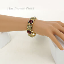 NAPIER Textured GOLD Tone & RED BRACELET Faux Checkerboard CRYSTALS Stretch