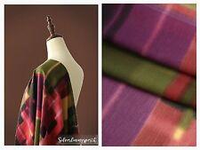 140cm Wide Premium Quality Pink Purple Olive Checker Print Silk Cotton Fabric