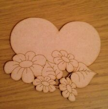 3 X Wooden Valentines Day Mdf Heart. Unpainted Laser Cut Heart Plaque Blank
