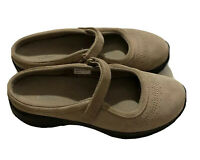LL Bean Mary Jane Suede Leather Shoes Brown Womens 7.5 M Comfort Walking Strap