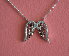 925 Sterling Silver Rhodium Plating CZ Angel Wings Pendant Necklace