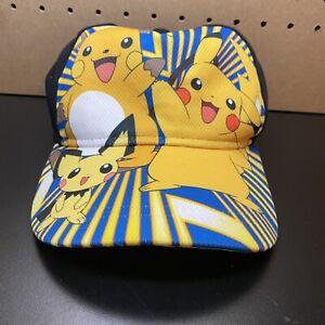 2016 POKEMON Pikachu Adjustable Snapback Baseball Black Yellow Cap youth Hat